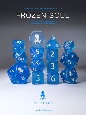 Frozen Soul 12pc Silver Ink Dice Set With Kraken Logo
