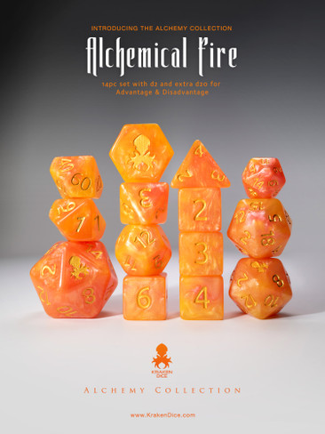 Alchemical Fire 14pc Orange and Red Gold Ink Dice Set