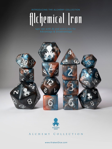 Alchemical Iron 14pc Blue and Red Silver Ink Dice Set