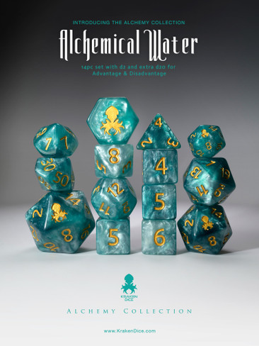 Alchemical Water 14pc Light Blue Gold Ink Dice Set