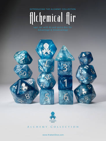 Alchemical Air 12pc Light Blue Silver Ink Dice Set