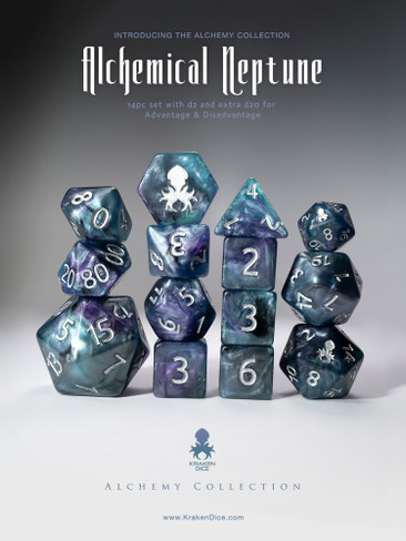 Alchemical Neptune 14pc Blue and Purple Silver Ink Dice Set
