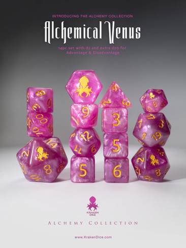 Alchemical Venus 14pc Pink and White Gold Ink Dice Set With Kraken Logo