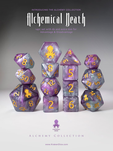 Alchemical Death 14pc Purple and Teal Gold Ink Dice Set