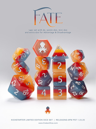 "Limited Edition 14pc ""FATE"" Dice Set for TTRPGs"