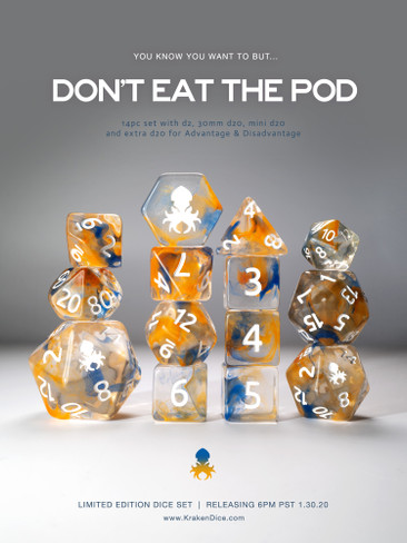 14pc Don't Eat the Pod Vapor Dice Set with White Ink