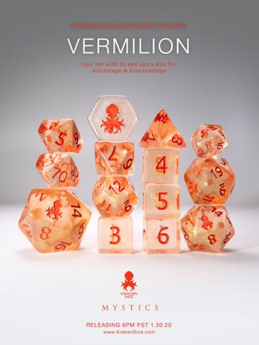 Vermilion 14pc Red Ink Dice Set