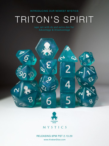 Triton's Spirit 12pc Polyhedral Dice set with Silver Ink