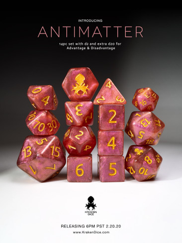 Antimatter Pink Shimmer 12pc Gold Ink Dice Set