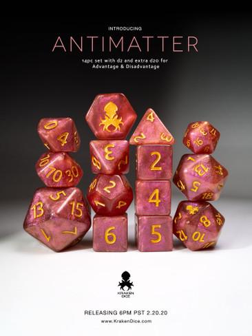 Antimatter Pink Shimmer 14pc Gold Ink Dice Set