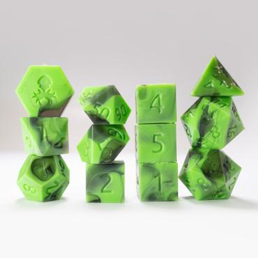 RAW 12pc Green and Black Gummi Polyhedral Dice Set