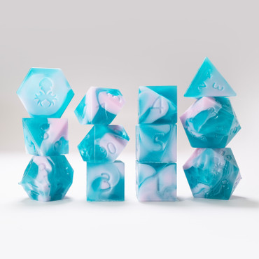 RAW 12pc Teal and Pink Gummi Blue Raspberry Smoothie Polyhedral Dice Set
