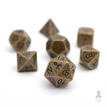 Dwarven Brass Metal RPG Dice Set With Iconic Kraken