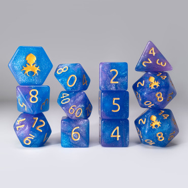 Sky Bridle 12pc Glimmer RPG Dice Set with Gold Ink