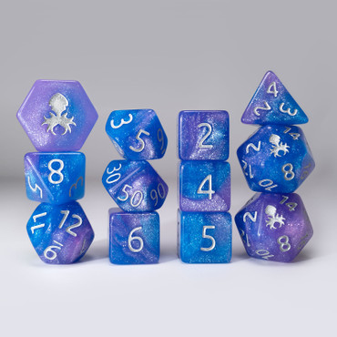 Sky Bridle 12pc Glimmer RPG Dice Set with Silver Ink
