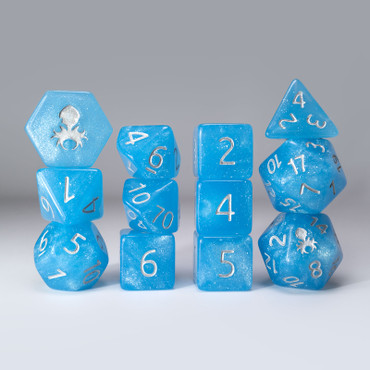 Sea Stout 12pc Glimmer RPG Dice Set with Silver Ink