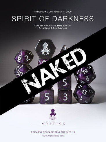 Naked Spirit of Darkness 14pc Dice Set With Kraken Logo
