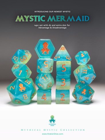 Mystic Mermaid 12pc Copper Ink Dice Set With Kraken Logo