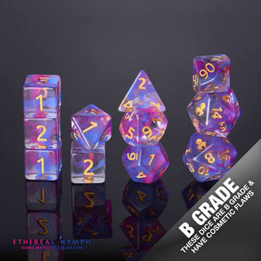 B Grade With Cosmetic Flaws Ethereal Nymph 12pc Gold Ink Dice Set
