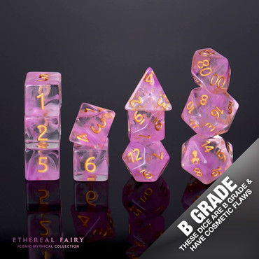 B Grade With Cosmetic Flaws Ethereal Fairy 12pc Gold Ink Dice Set