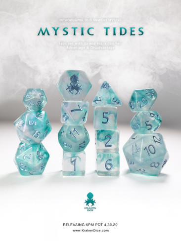 Mystic Tides 14pc Polyhedral Dice set with Metallic Blue Ink