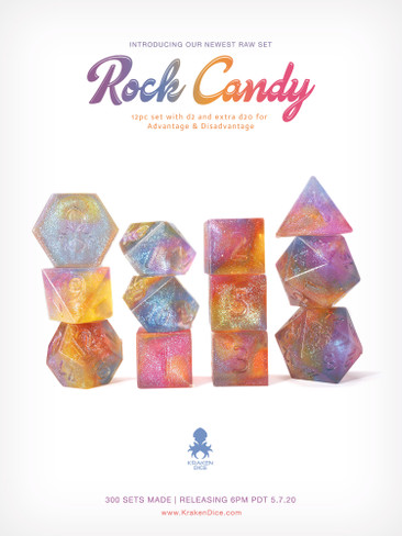 Kraken's Rock Candy RAW 12pc Polyhedral Dice Set