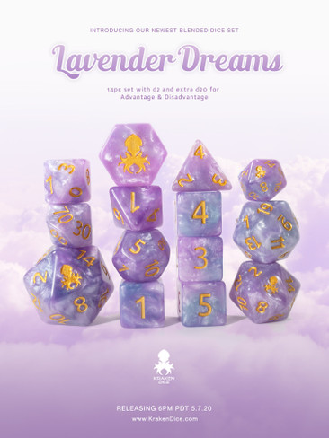 Lavender Dreams 12pc DnD Dice Set