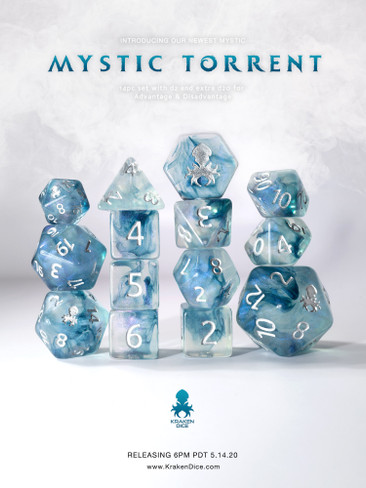 Mystic Torrent 14pc Polyhedral Dice set with Silver Ink