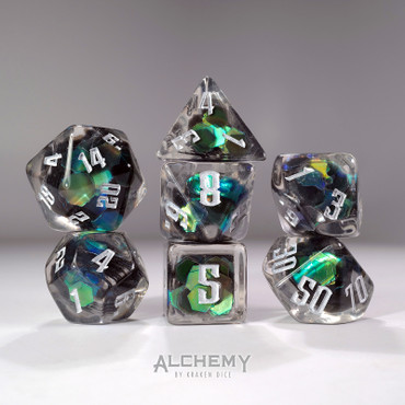 7pc Exotic Green Galaxy with Silver Ink by Alchemy Dice