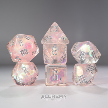 7pc Exotic Pink Galaxy with Silver Ink by Alchemy Dice