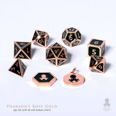 Pharaoh's Rose Gold Dice With Black Enamel