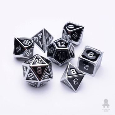 Pharaoh's Silver Dice With Black Enamel Inlayed