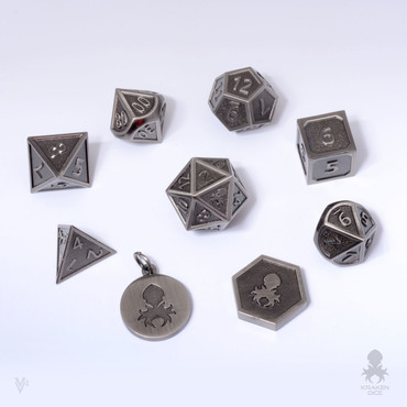 Carved-Cast Steel Metal Dice Set