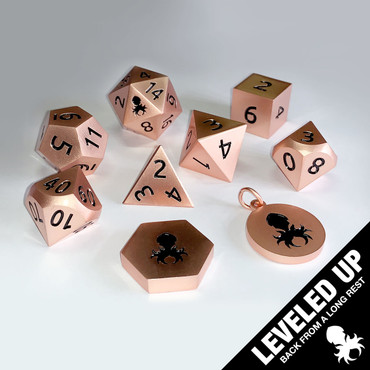 Dwarven Satin Rose Gold Metal Dice Set