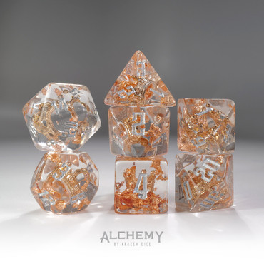 7pc Venus Crown Dice Set with Silver Ink by Alchemy Dice