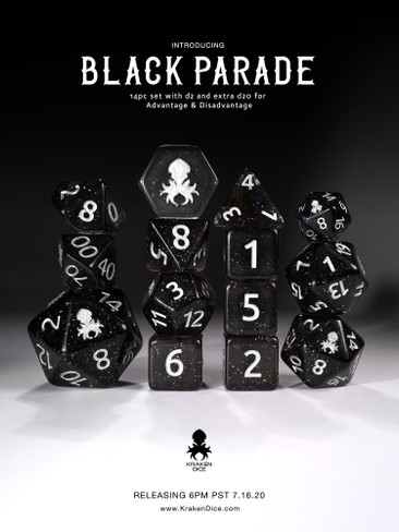 Black Parade 12pc Rainbow Glitter Dice Set with Silver Ink