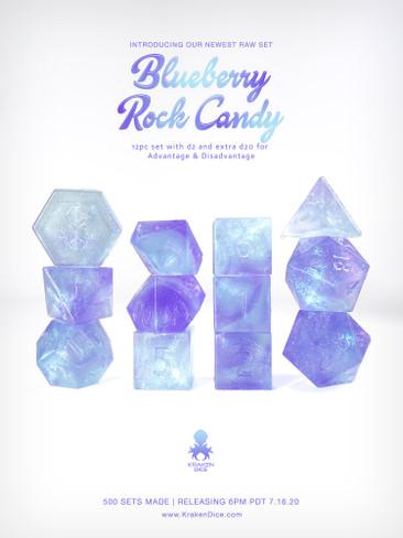 Kraken's Blueberry Rock Candy RAW 12pc Polyhedral Dice Set