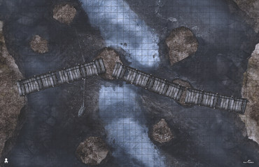 Kraken Dice RPG Encounter Map Quick Mat- DragonFall Bridge Night by MapHammer