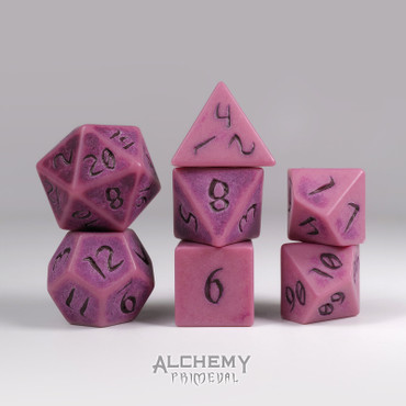 Primeval: Red Clay with Red Ink 7pc Custom Font Polyhedral Dice Set