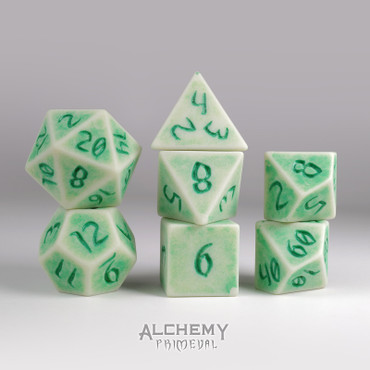 Primeval:White Slate with Green Ink 7pc Custom Font Polyhedral Dice Set