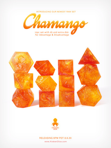 Kraken's RAW Chamango Rock Candy 12pc Polyhedral Dice Set