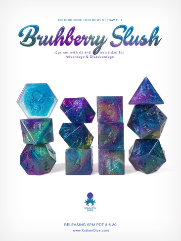 Kraken's RAW Bruhberry Slush Rock Candy 12pc Polyhedral Dice Set
