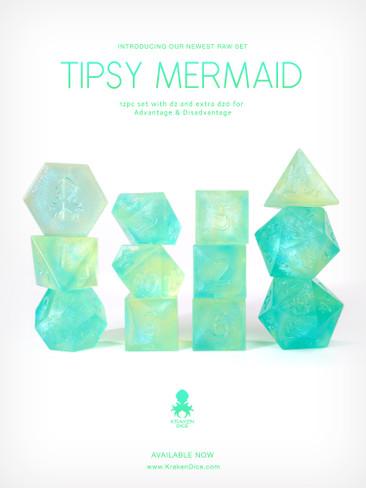 RAW Tipsy Mermaid 12pc Glitter RPG Dice Set