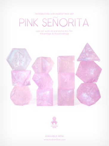RAW Pink Senorita 12pc Glitter RPG Dice Set