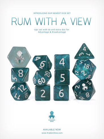 Rum with a View 12pc Glitter RPG Dice Set with Silver Ink