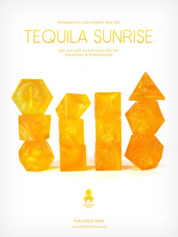 RAW Tequila Sunrise 12pc Glitter RPG Dice Set