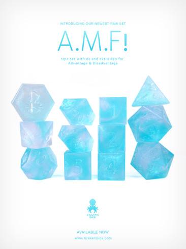 RAW A.M.F! 12pc Glitter RPG Dice Set