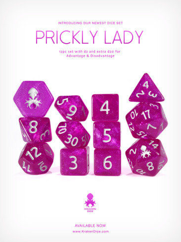 Prickly Lady 12pc Glitter RPG Dice Set with Silver Ink