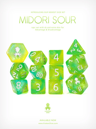 Midori Sour 12pc Glitter RPG Dice Set with Silver Ink
