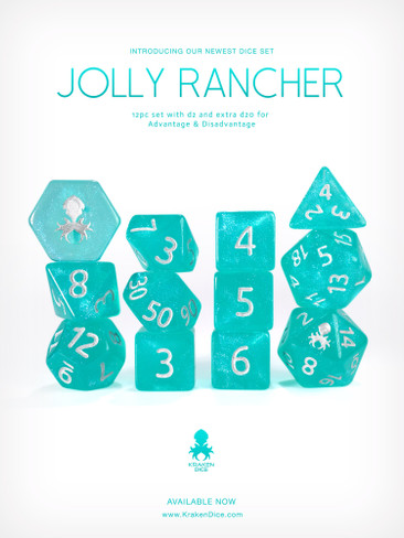 Jolly Rancher 12pc Glitter RPG Dice Set with Silver Ink